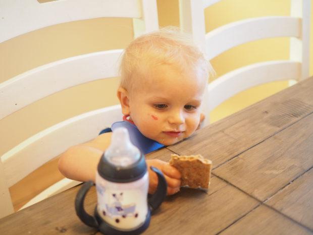 Milo onnellisena isojen tuolilla