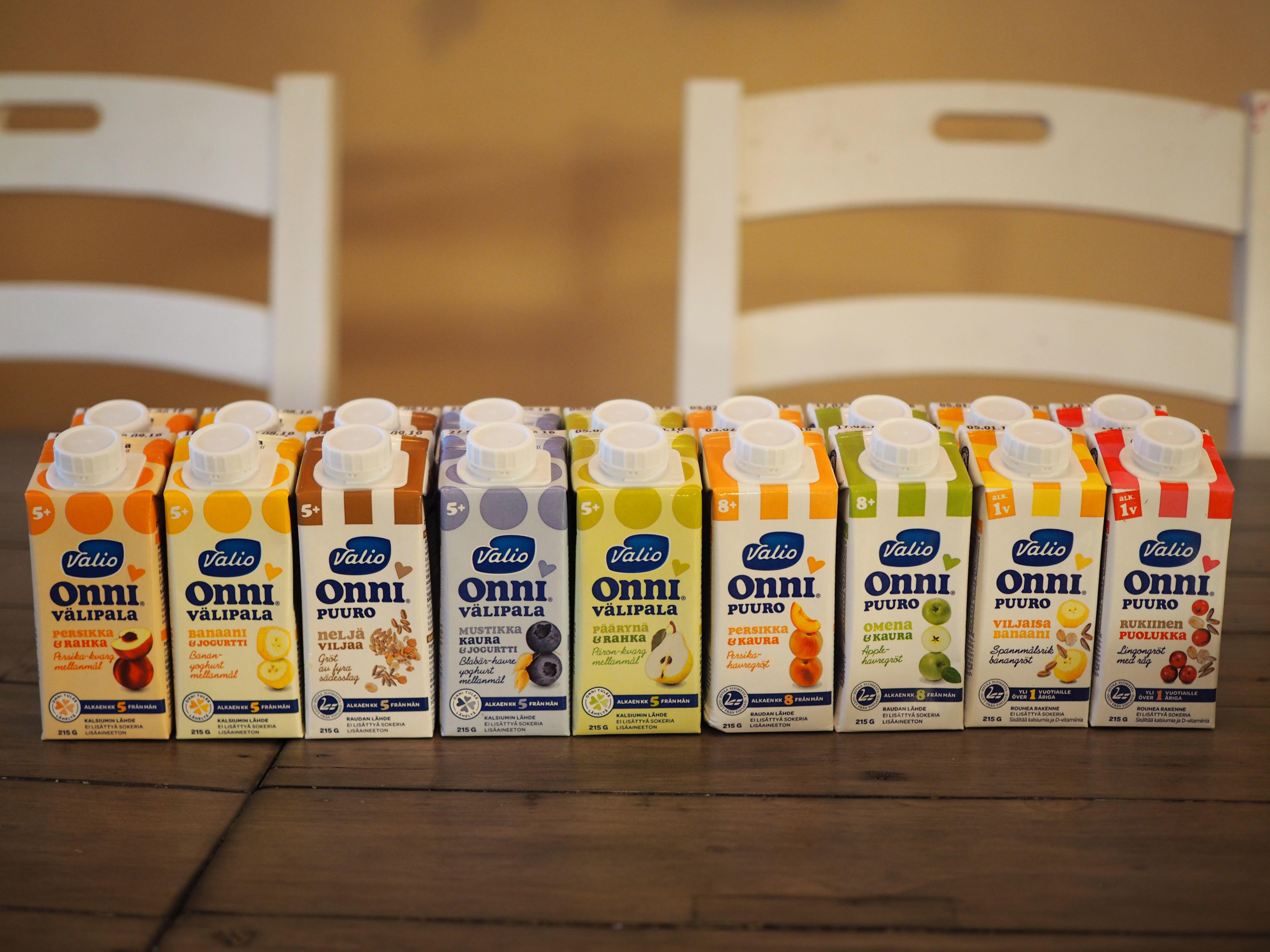 Valio Onni puurot sekä rahka- ja jogurttivälipalat