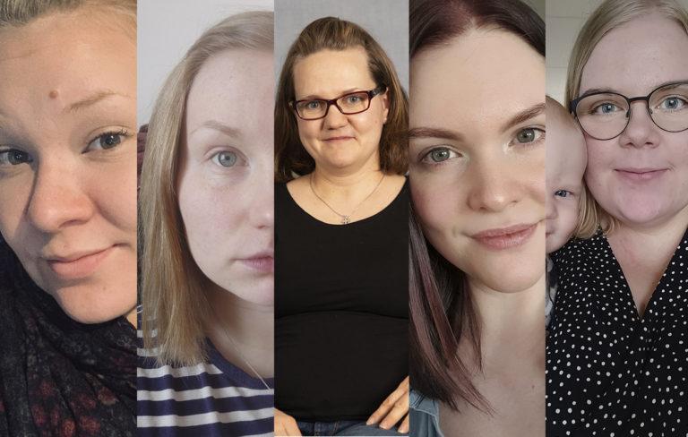 Nora, Sanna, Maria, Jenni ja Salla viettävät juuri nyt vauvavuotta kotiäiteinä.