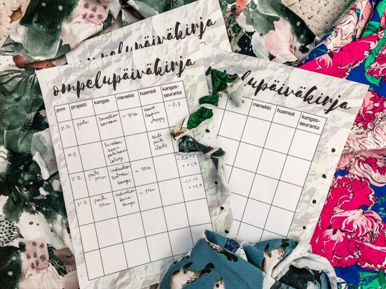 ompelupäiväkirja ompeluharrastukseen