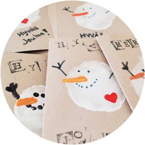 Joulukortit yhdessä lapsen kanssa