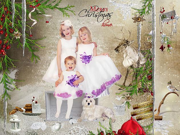 Hyvää Joulua sukulaisille ja kaikille tutuille! Alisa 2v, Julia 6v, Iida 8v ja Bella 4v Sodankylästä, Anastasia Koivuharju