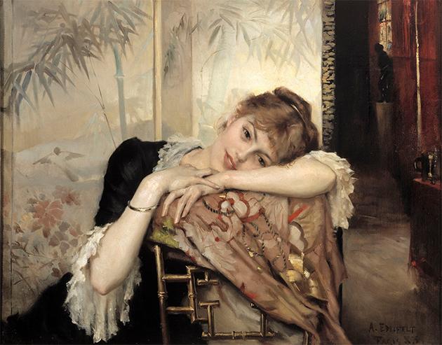Albert Edelfelt: Pariisitar (Virginie), 1883. Joensuun taidemuseo, Neiti Arla Cederbergin taidekokoelma. Kuva: Kansallisgalleria / Hannu Aaltonen