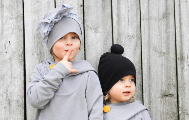 Lasten vaatteet Papu, paitsi Aatun pipo, joka on Aarrekidistä.