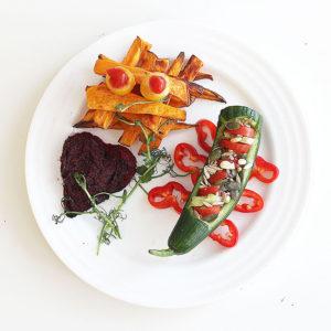 Perusperheen punavihreä vegelounas