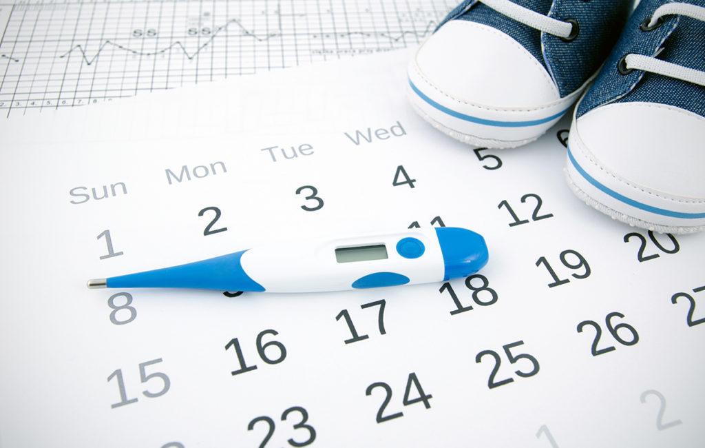 Kalenteri, kuumemittari, vauvan tossut, ovulaatio