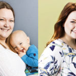 Äidin oma päivä -voittaja Janiika ennen ja jälkeen -kuvissa.