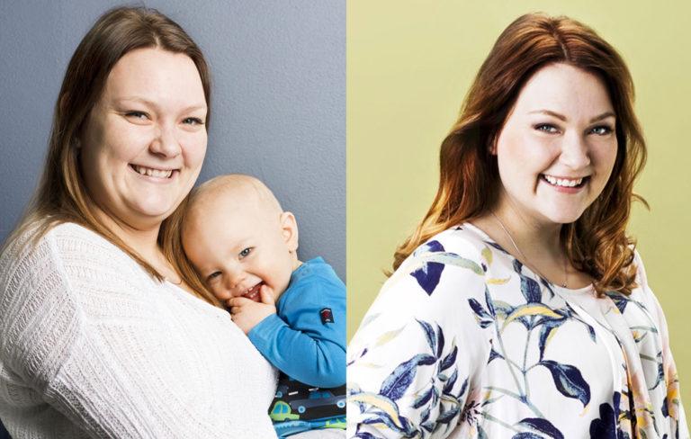Äidin oma päivä -voittaja Janiika ennen ja jälkeen.