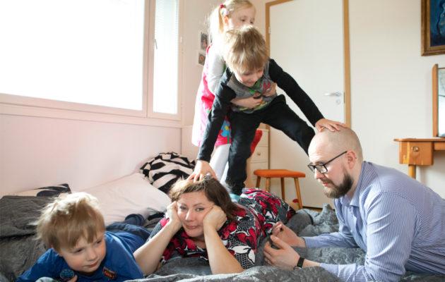 Kaisan ja Samulin kolmoset Onerva, Uljas ja Aatos ovat nyt 5-vuotiaita.