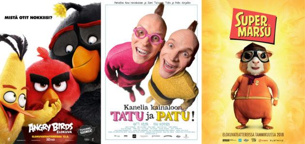 Angry birds, Tatu ja Patu, Supermarsu elokuvajulisteet
