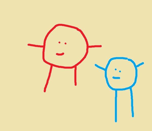 Kun lapsi alkaa kuvata maailmaa, paperille ilmestyvät pääjalkaiset.