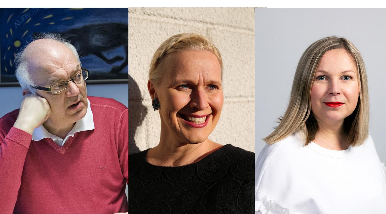 Perhe-elämän onnellisuus on aiheena kolmessa vastikään ilmestyneessä oppaassa. Kirjailijat Jari Sinkkonen, Pirjo Suhonen ja Anne Karilahti.